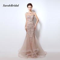 Real Photo Sexy Mermaid Luxury Beading Crystal Evening Dresses 2016 Champagne Open Back Illusion Prom Gowns de festa longo LX006