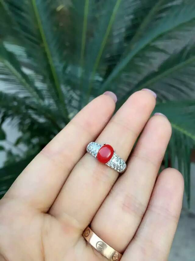 Natural red coral gem Ring Natural gemstone ring S925 sterling silver trendy Romantic elegant round Crude women gift Jewelry