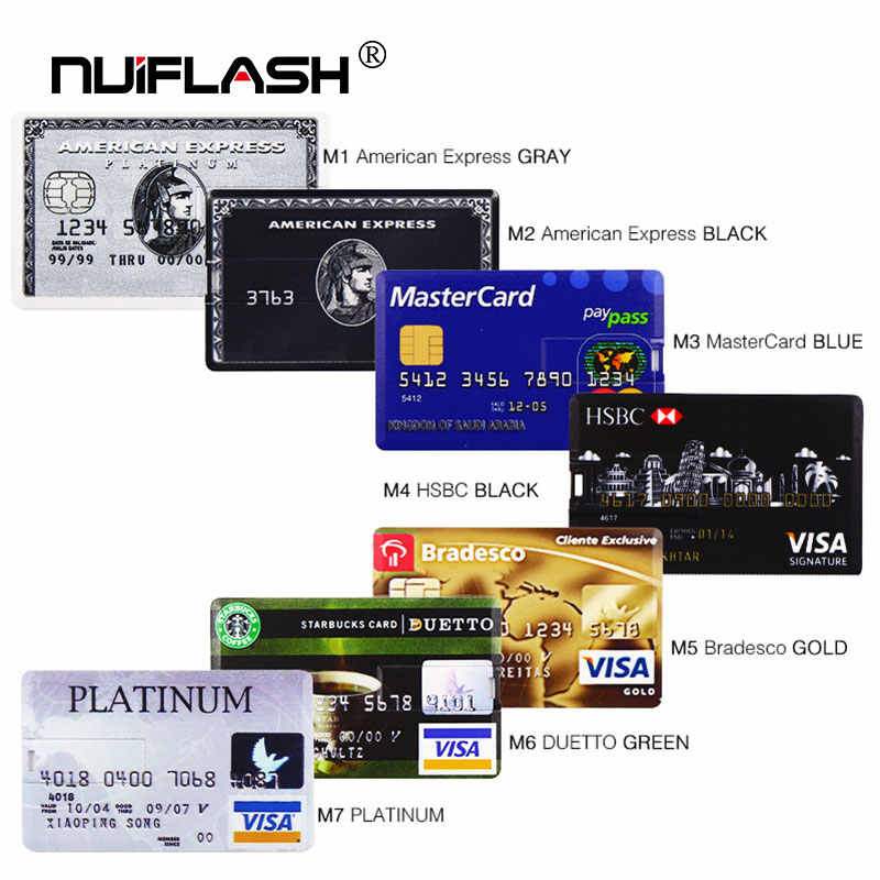 Credit Card USB Flash 8GB 4GB 16GB cle USB 2.0 flash stick 32GB Pen drive memory stick 64GB pendrive real capacity USB key