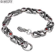 Браслет цепочка с драконом из серебра 925 пробы ручной работы