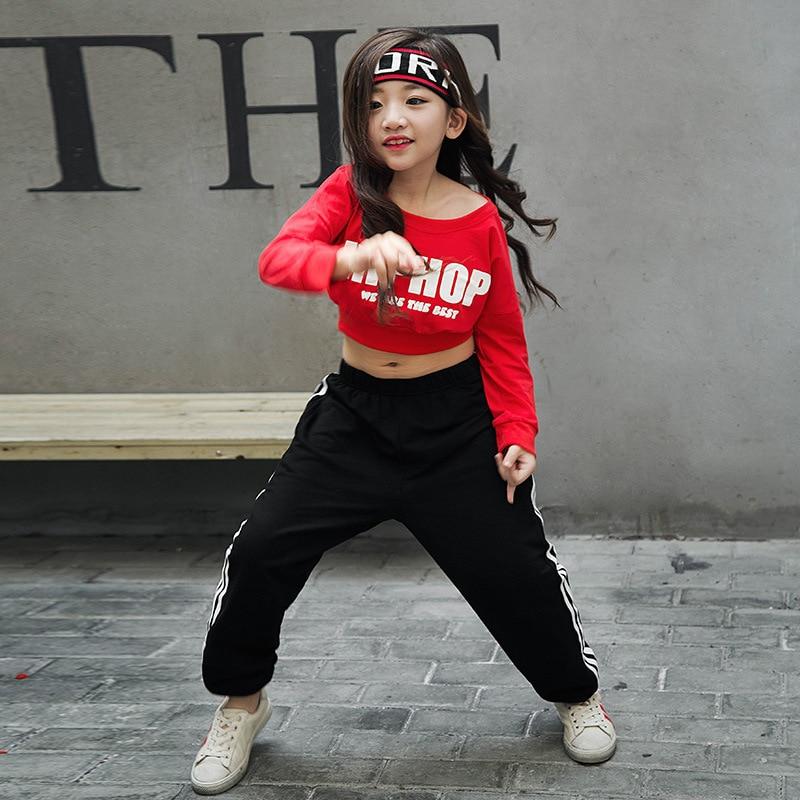 Girls Hip Hop Dance Clothes Ballroom Costumes Dancing Suits Kids Long Sleeve Top Shirt Dancewear Modern Sweatshirt Streetwear