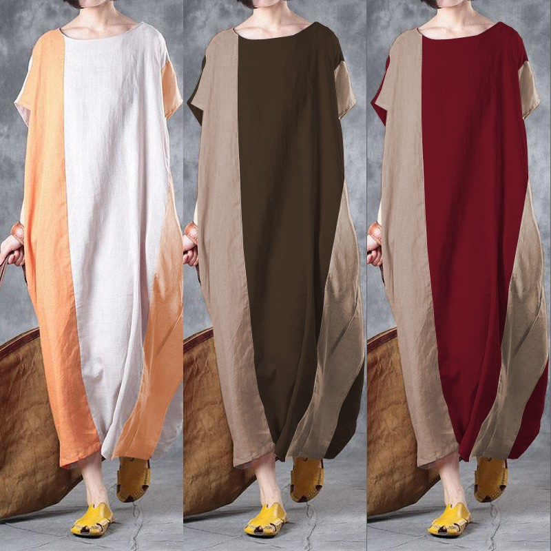 S-5XL Celmia Summer Women Maxi Dress O Neck Short Sleeve Pockets Patchwork Casual Loose Linen Dresses Vestidos Kaftan Plus Size