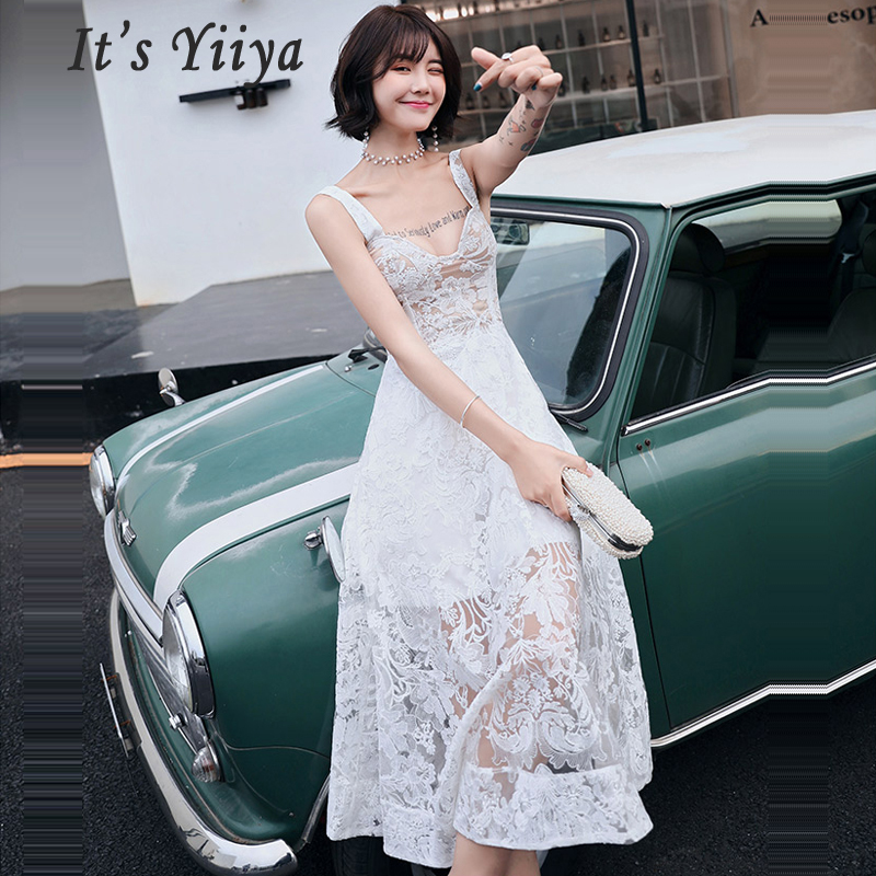 It's Yiiya Prom Dress White Lace Sweetheart Women Party Night Dresses Backless Vestidos De Gala 2019 Sleeveless Prom Gowns E694