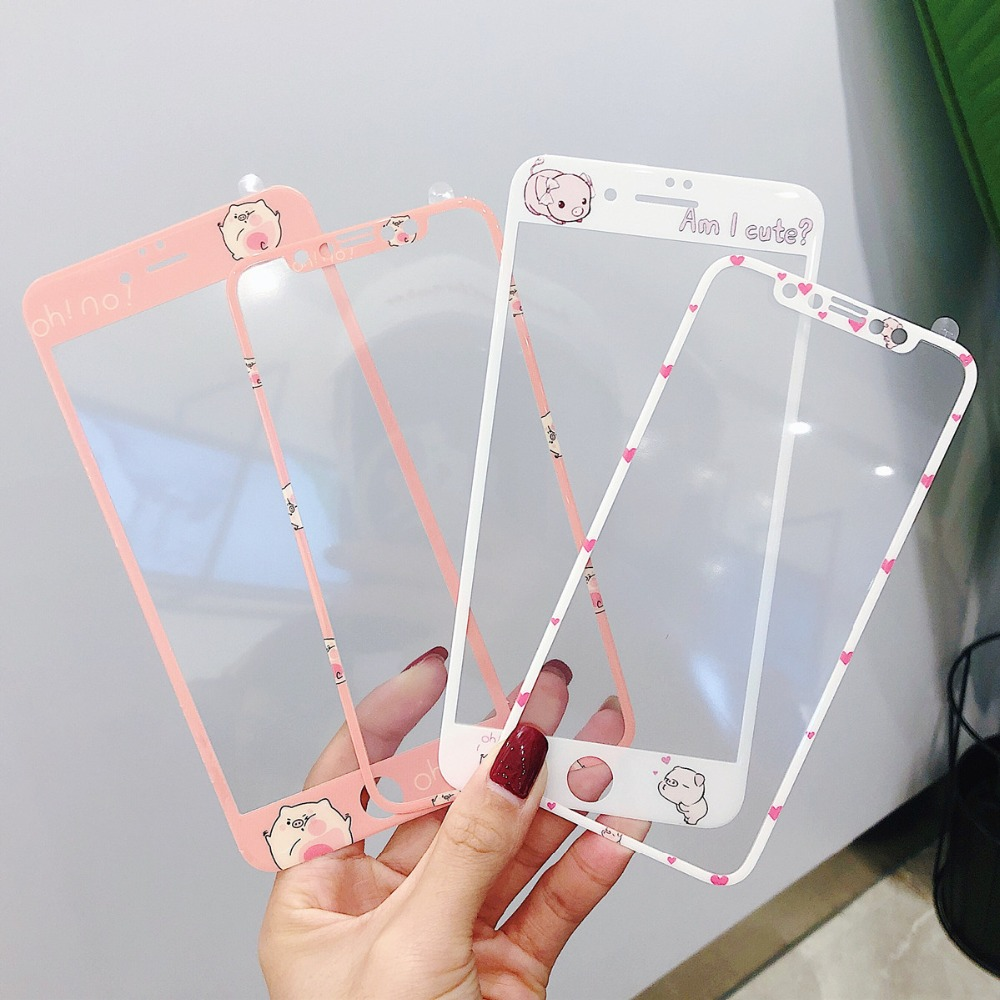Cute Cartoon Pigs Soft Edges Front Film For iPhone X XR XS MAX Full Cover 9H HD Tempered Glass Screen Protector Accessories