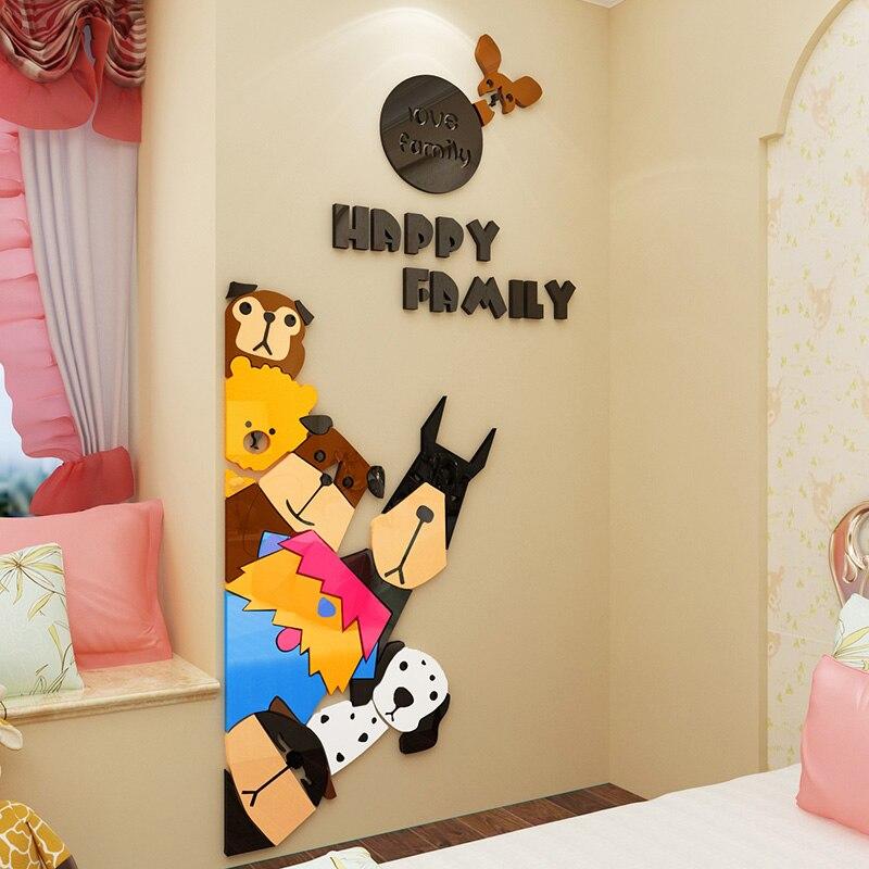 Cute Dogs Design Acrylic Wall Stickers DIY Animal Sticker Kids Room Nursery School Door or Wall
