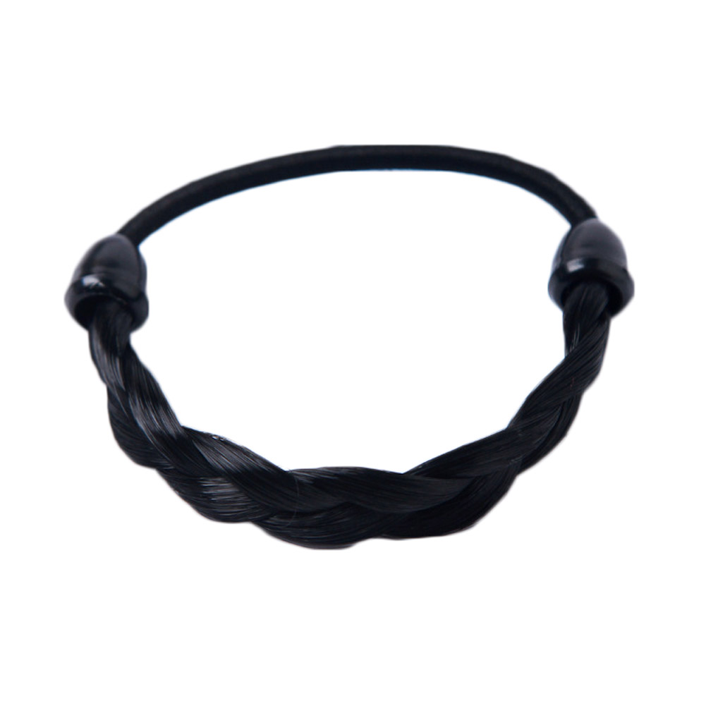 1Pc Creative Korean Wig Hair Circle Ponytail Hair Band Headwear Girls Fashion Simple Hair Rope Braids Stretch Hair Band
