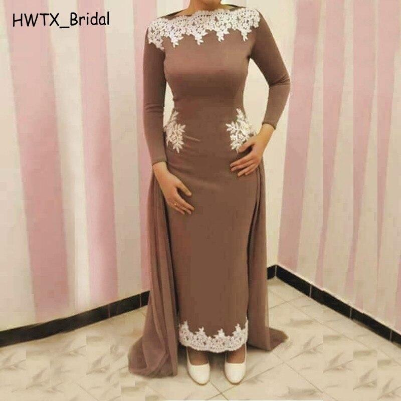 Manches longues gaine mère de la mariée robes caftan blanc dentelle Tulle surjupe brun musulman robes formelles 2018 robe de bal