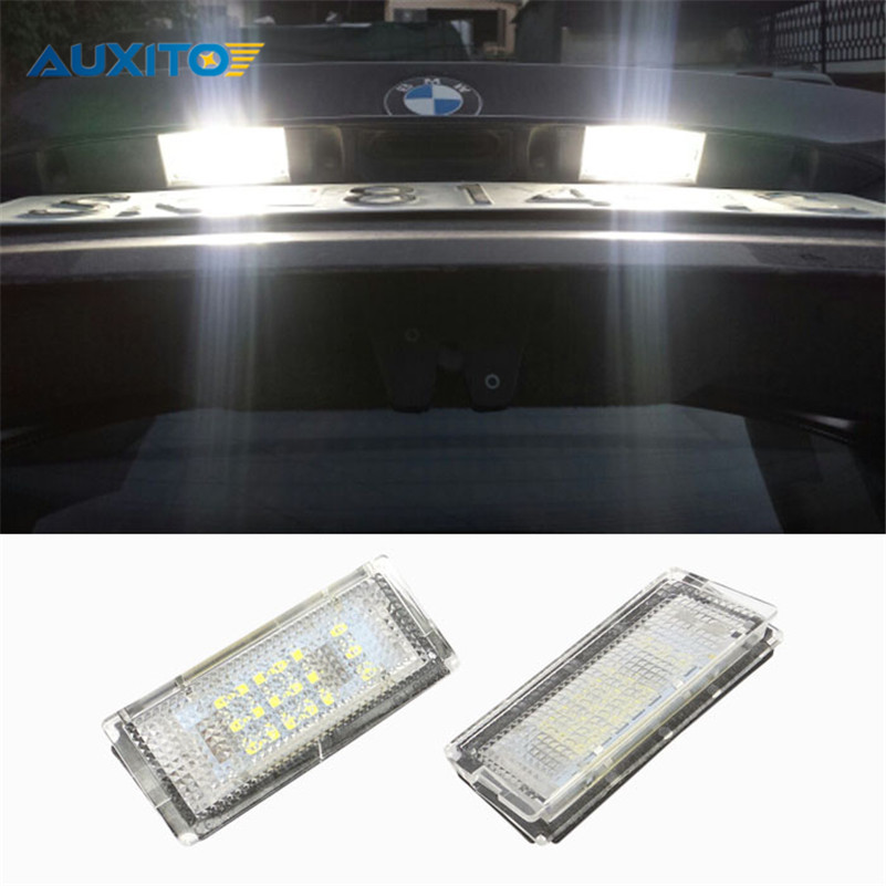 2X Error Free Car LED License Plate Light 18LEDs Number Plate Light For BMW E46 4D 4Doors 323i 323is 325i 325xi 330i 330xi 328i 2x e marked obc error free 24 led white license number plate light lamp for bmw e81 e82 e90 e91 e92 e93 e60 e61 e39 x1 e84