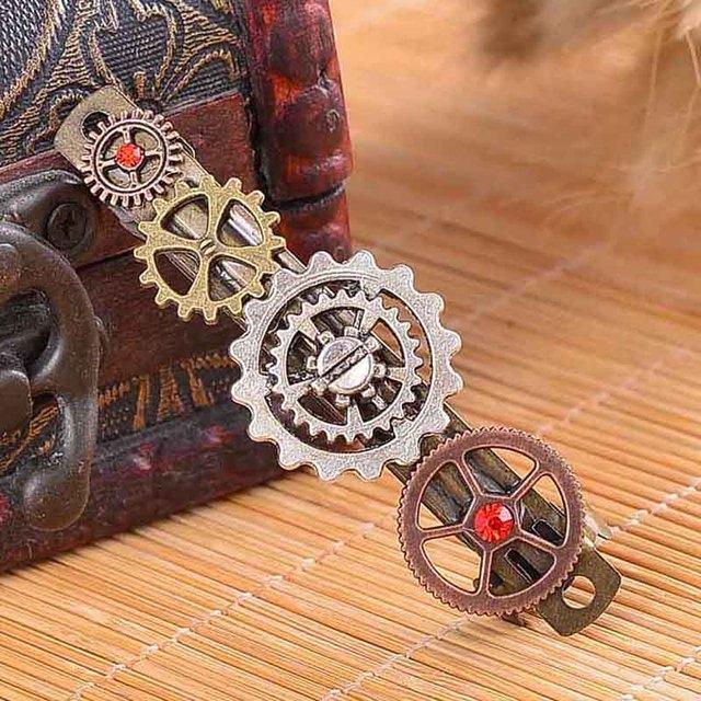Vintage Gear Wheels Decorated Metal Steampunk Barrettes