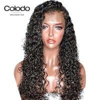 COLODO 360 кружевных фронтальных париков предварительно сорвал с волосами младенца Remy бразильские волосы волна воды человеческих волос парики