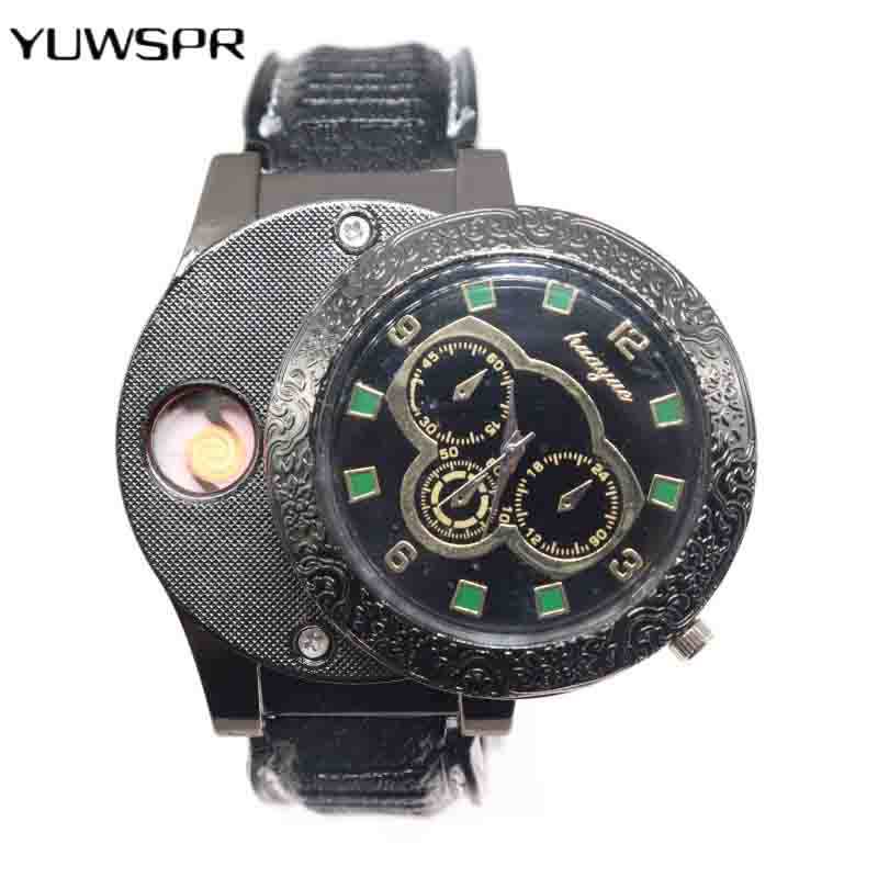 1pcs lighter watch For men USB charging creative personality electronic cigarette Flameless Cigarette Lighter quartz clock F666 runacc camouflage lighter flashlight cigarette lighter creative fire lighter for camping travelling and hiking
