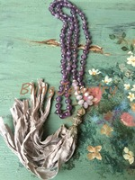 Knot Amethyst Beads NECKLACE Gray Sari Silk Tassel Necklace N16120711