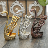 European style retro embossed metal silver swan fruit fork dessert coffee spoon fashion tableware 7 sets of kitchen utensils