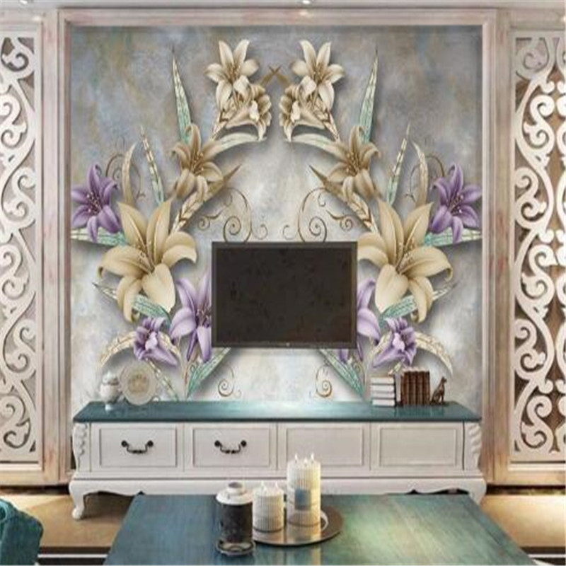 European Mural Wallpapers 3D Custom Wall Murals Living Room Vintage Flower Wallpaper TV Background Home Decor Theme Restaurant the custom 3d murals parks sunrises and sunsets trees heart grass nature wallpapers living room sofa tv wall bedroom wall paper