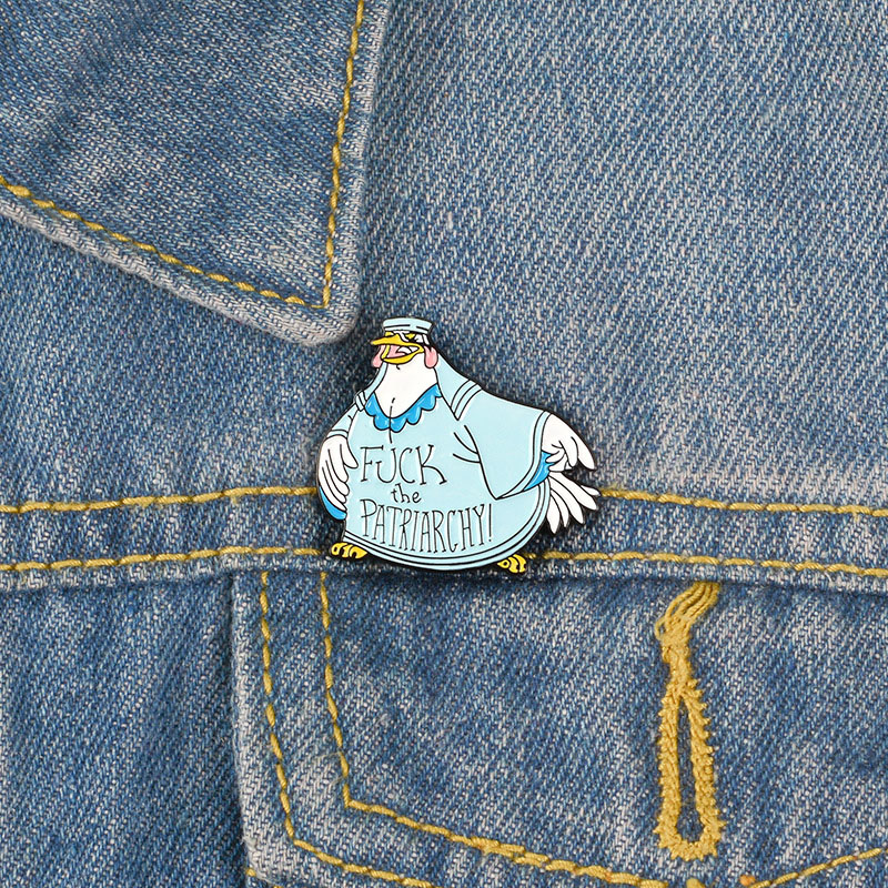 Cartoon Against Patriarchal Cock Brooch and Enamel Pins for Women Andmen Backpack Bags Badge Cool Gifts Collar Jewelry