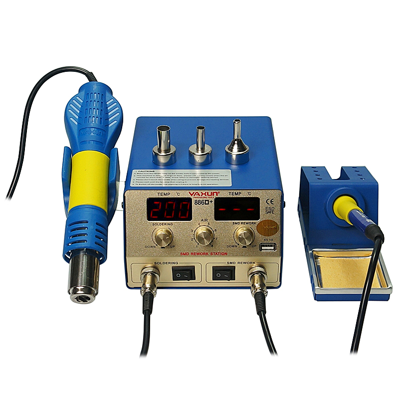 YAXUN 886D+ 2 in 1 SMD hot air soldering station temperature Momery Function Rework machine 5V 1A USB Output