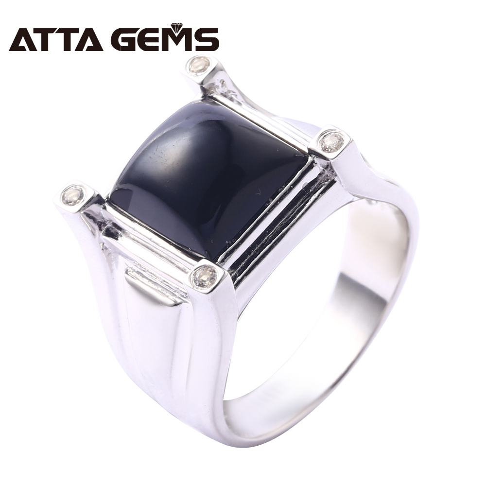 Natural Black Agate Sterling Silver Rings Unisex Design 10 Carats Natural Agate Stone Fashion Classic Style Top Quality Rings