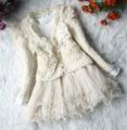 Vestido de la muchacha primavera nueva corea manga larga dos piezas de la señora de color rosa de encaje vestido beige envío gratis