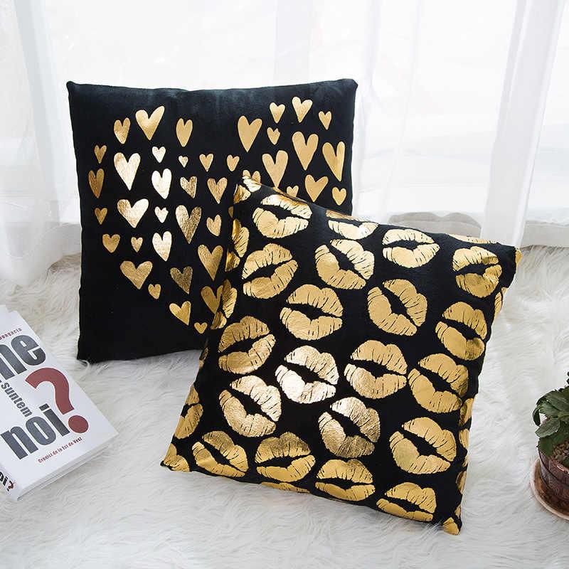 זהב גיאומטרי פלמינגו Bronzing כרית דקורטיבי כרית אהבת זהב רדיד ציפית בית תפאורה ספה לזרוק כריות 17*17 אינץ