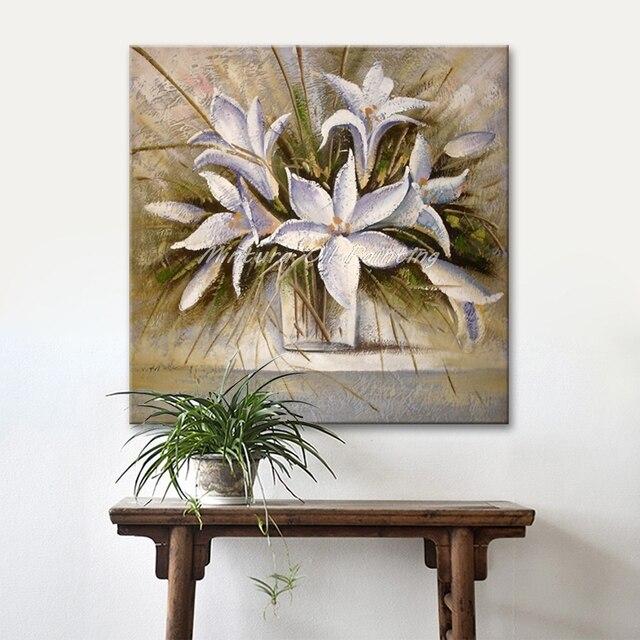 Arthyx dipinti Dipinto A Mano bianco fiori dipinti ad olio su tela ...