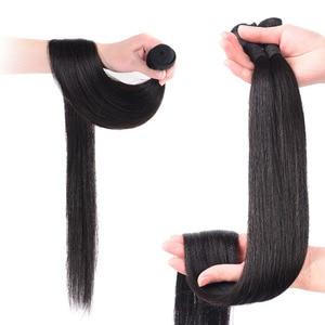 Image 4 - 스트레이트 브라질 인간의 머리카락 번들 확장 직조 8 ~ 30 40 인치 비 레미 자연 확장 짧은 롱 헤어 1 3 4 조각