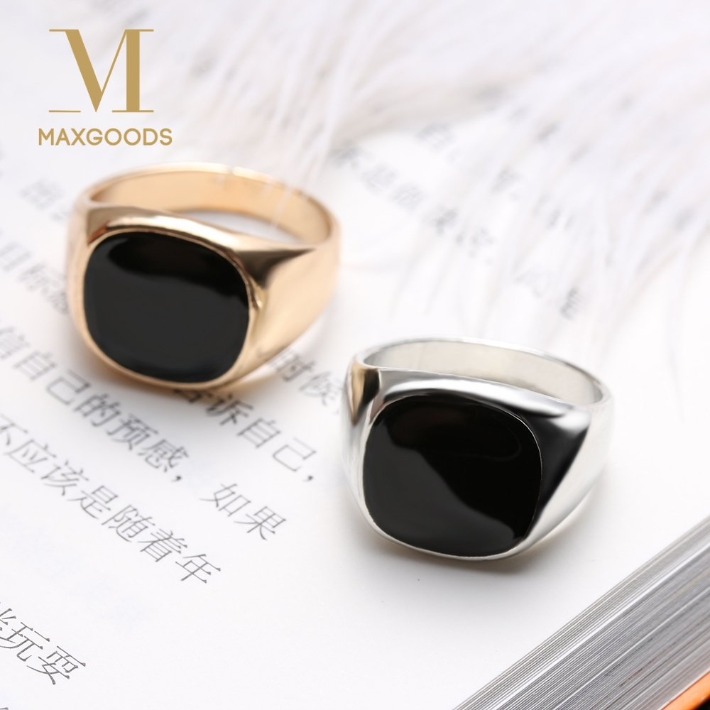 1 Pcs Fashion Men Ring Vintage Solid Polished Jewelry Classic Fashion Minimalist Design Silver Gold Color Black Enamel Men Rings