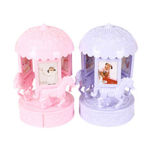 Classic Rotate Trojan horse Music Box Home Decor Cute Children Rotating Fashion Photo Frame Multifunction Jewelly Storage Box