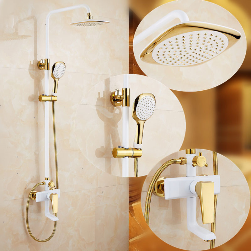gold white shower set European style brass mixer tap wall mounted bathroom faucet mixed water valve home shower system free shipping polished chrome finish new wall mounted waterfall bathroom bathtub handheld shower tap mixer faucet yt 5333