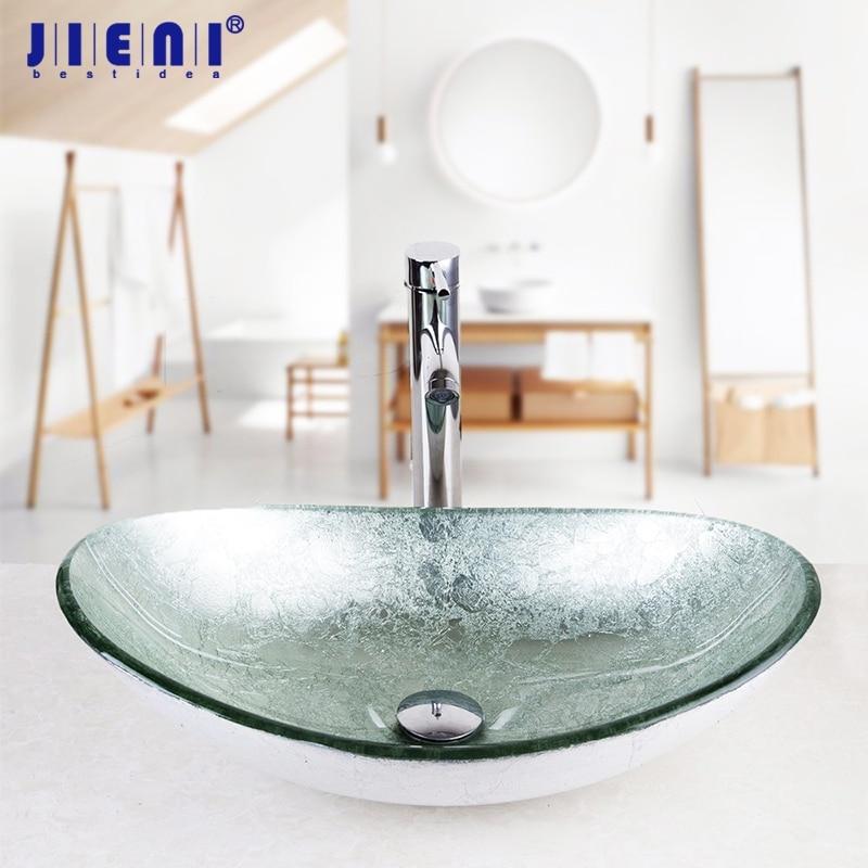 JIENI NEW Silver Art Hand-Paint Round Basin Sink Faucet Bath Set Bathroom Glass Basin Vanity Chrome Brass Faucet Set Tap Mixer серьги art silver art silver ar004dwzmh30