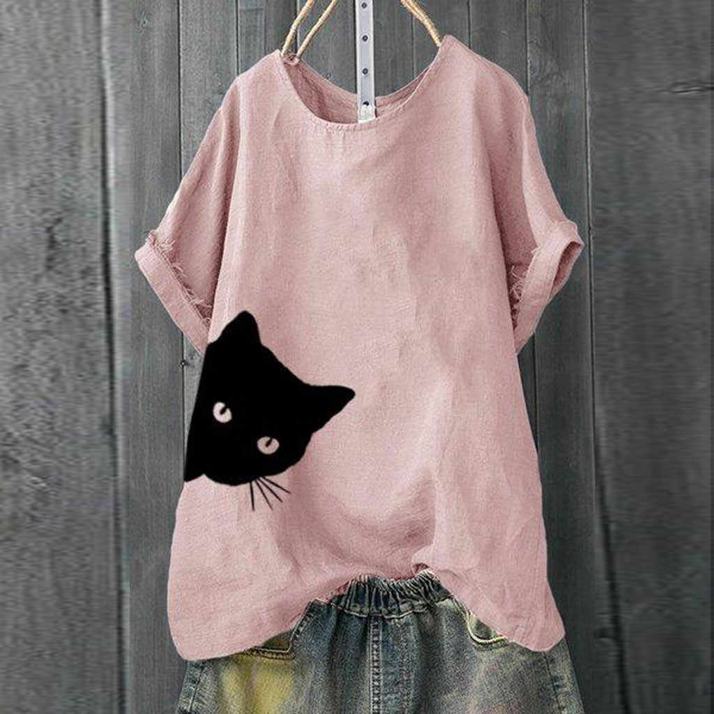 Casual T-shirt Vrouwen Plus Size Solid Cat Print Losse Korte Mouwen Tops Vrouwen T-shirt Korte Mouw Katoenen Zomer # p35