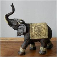 Imitation wood carving resin crafts auspicious elephant rustic home accessories new house Decoration