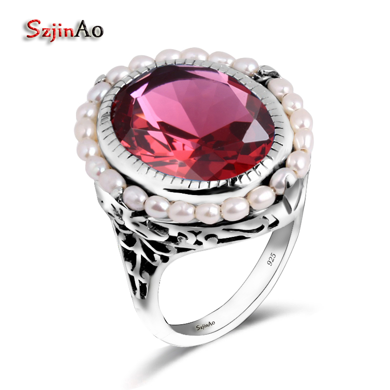 Szjinao Bohemia Wedding Engagedment Fashion Vintage Jewelry Natural Pearl Red Ruby 100 925 Sterling Silver Women