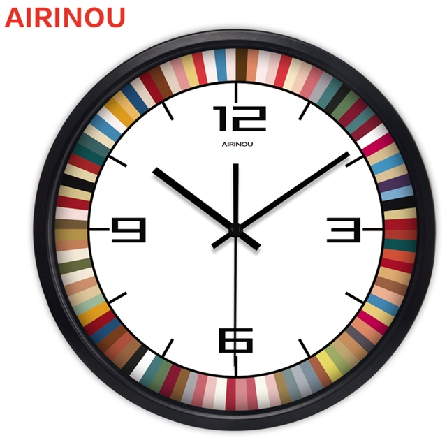Airinou 12\/14 Inch Large Rainbow Decorative Wall Clocks Home Decor - living room clock