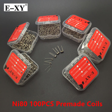 E-XY 100pcs  Ni80 Coil Wire Coiling Prebuilt Coil Resistance Electronic Cigarette Heating Coils Wire For DIY RDA RTA Atomizer