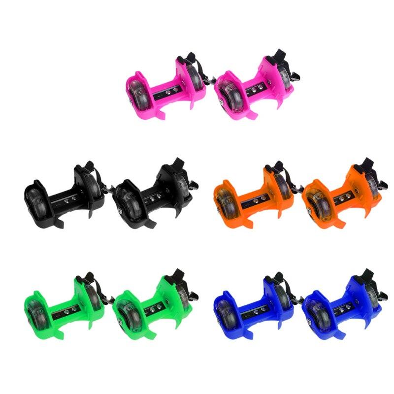 Children Wheel Heel Roller Light Adjustable Skates Kid Falsh Blade Shoe Strap