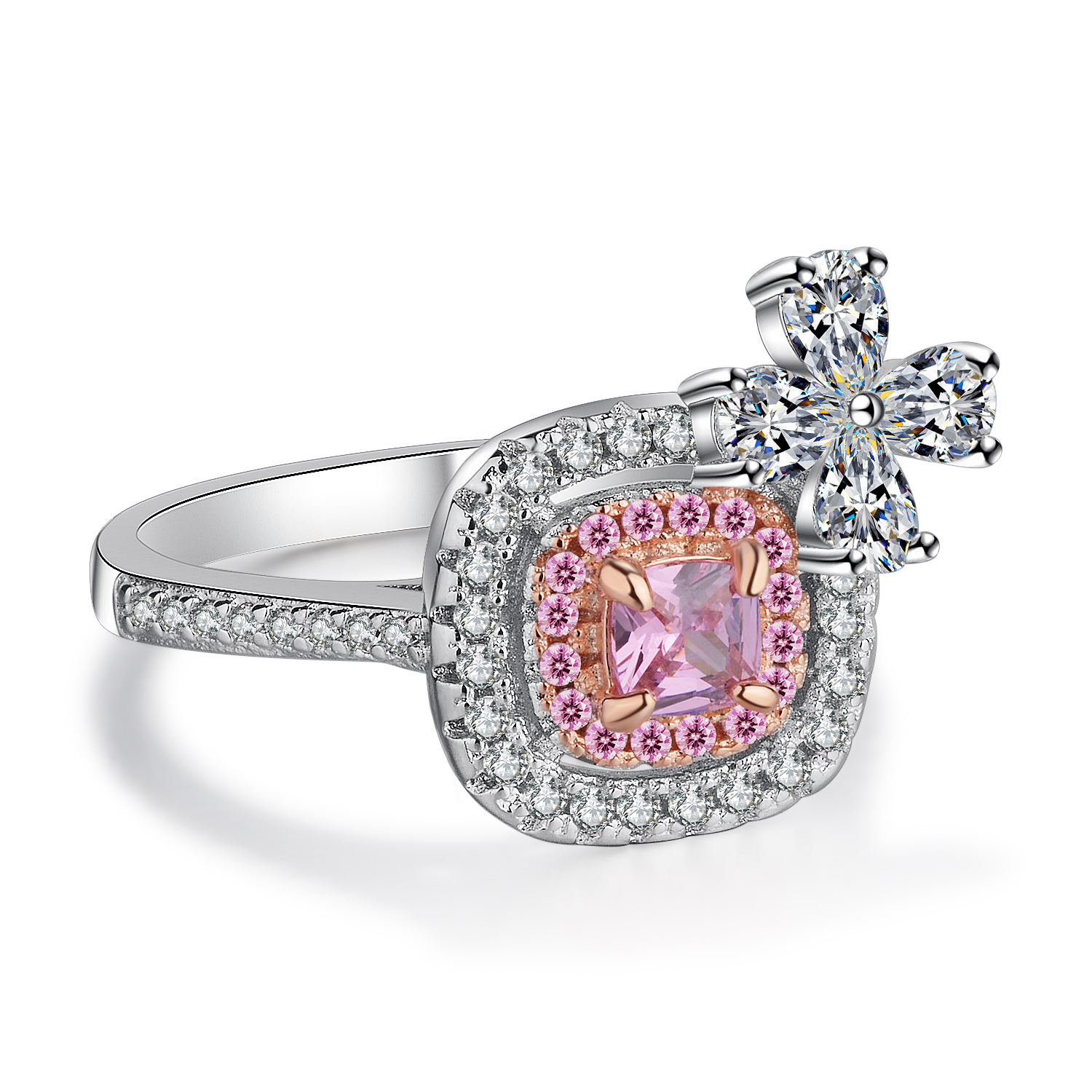 Luxurious Ring Pink Color 2 Ct Cubic Zircon Engagement Rings With Bowknot Decoration Wedding For Women Fashion Jewelry: Pink Bow Wedding Ring At Reisefeber.org