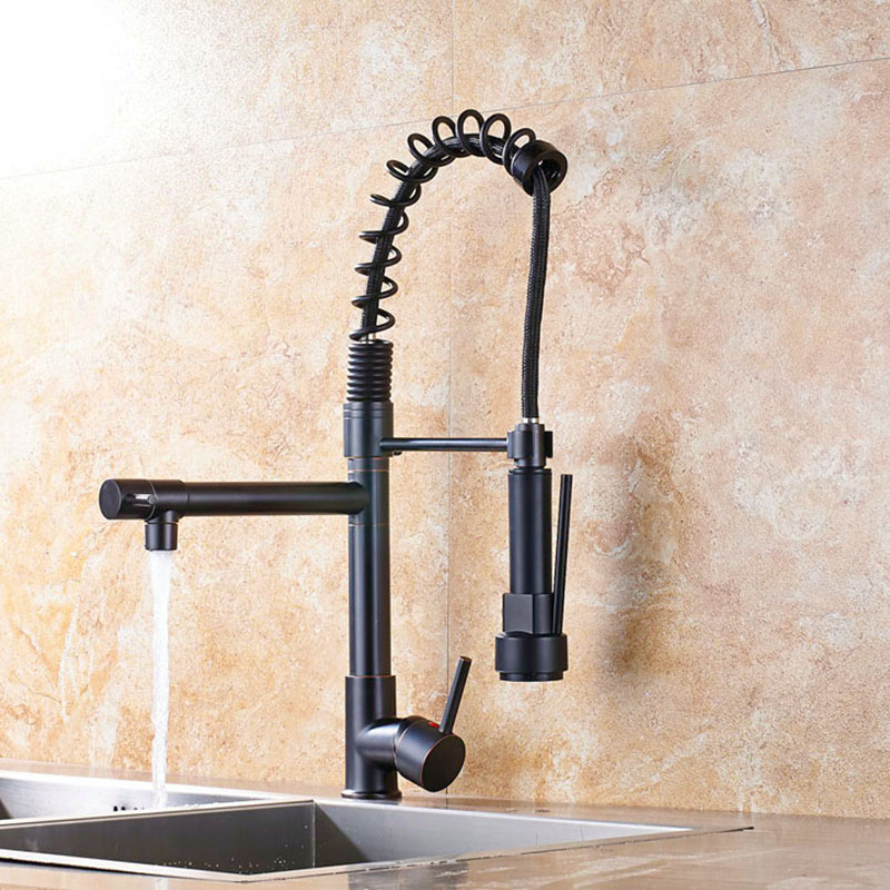 Hot Sale Chrome Spring Pull Down Kitchen Faucet Dual Spouts 360 Swivel Handheld Shower Kitchen Mixer Crane Hot Cold 2 Outlet S