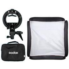 Godox 40 x 40 cm Softbox + tipo s soporte Bowens monte titular + bolsa Kit para Flash de la cámara