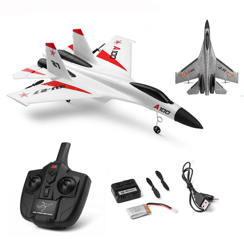 Wltoys XK A100-SU27 RC Plane 2.4G 340mm 3CH Airplane Fixed Wing Planes Outdoor RC Toys Flying Remote Control Plane Children Gift