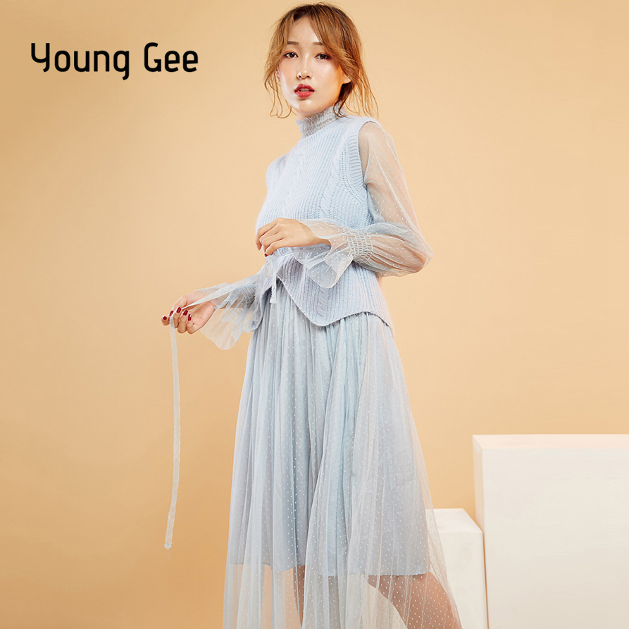 0fa2ba4e3bb Young Gee Women Autumn Winter Warm Long Sleeve Dots Mesh Dresses Knit  Sweater Vest Elegant Twinset Midi Pleated Dress vestidos