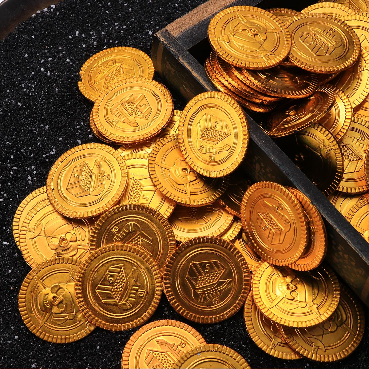 Yeahibaby 100PCS Gold Münzen Kunststoff Glänzende Vintage Gefälschte Schatz Spielset Spielzeug für Pirate Party Spiel