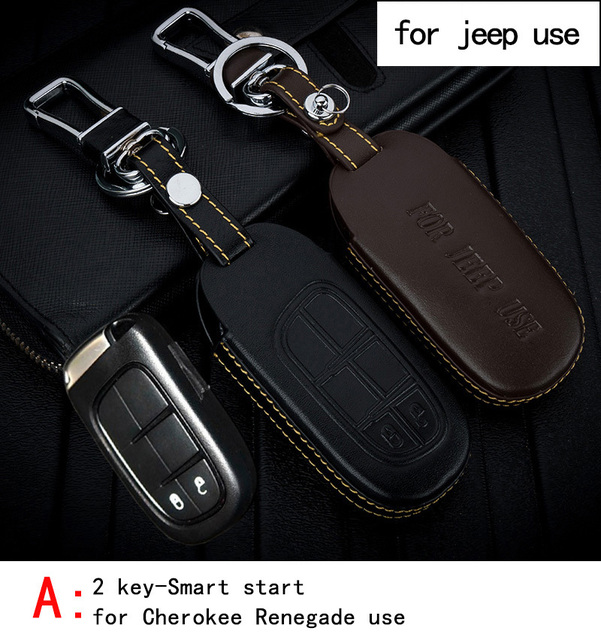 Genuine Leather CAR KEY CASE For JEEP CHEROKEE GRABD CHEROKEE RENEGADE Use Automobile Special-purpose CAR KEY HOLDER