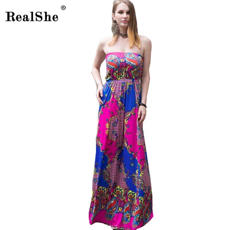 Buy Cheap RealShe Women's Bohemian Summer Dress 2017 Sleeveless Casual Long Boho Dress Woman Sexy Floral Print Beach Dress Vestidos