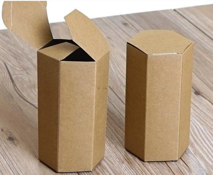 20pcs/lot-4cm Regular Hexagon Small <font><b>Big</b></font> Size Fashion kraft paper <font><b>gift</b></font> <font><b>box</b></font> food candy Tea Storage <font><b>Box</b></font> DIY Craft <font><b>Packaging</b></font> image