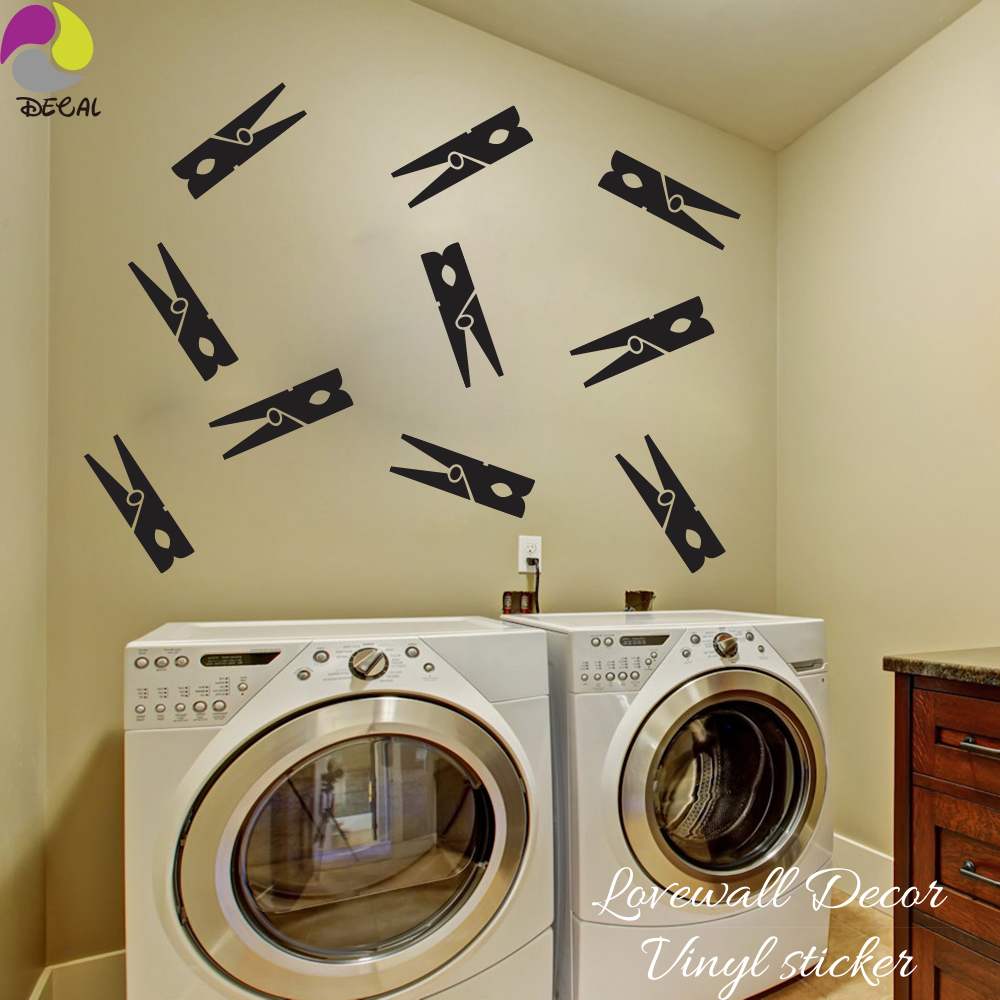 Clothespins Wall Sticker Baby Nursery Kids Room Laundry Decal Hang Vinyl Home Washroom Decor Art Mural Diy In Stickers From