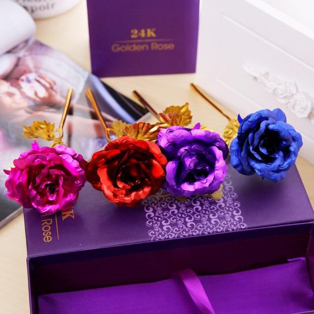 Best Gift For Girlfriend Golden Rose Wedding Decoration Golden Flower Valentine's Day Gift Gold Rose Gold Flower with Box -15 1