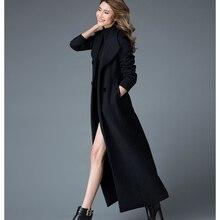 Новое зимнее женское кашемировое пальто модное шерстяное пальто темперамент тонкий толстый X-Long теплый большой размер тренчкот женский OK929