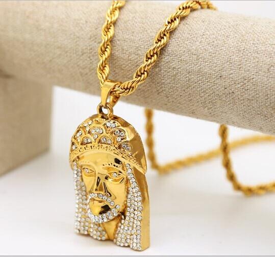 24k gold plated gold jesus face pendant piece rope chain 30inch 24k gold plated gold jesus face pendant piece rope chain 30inch hip hop sciox Gallery