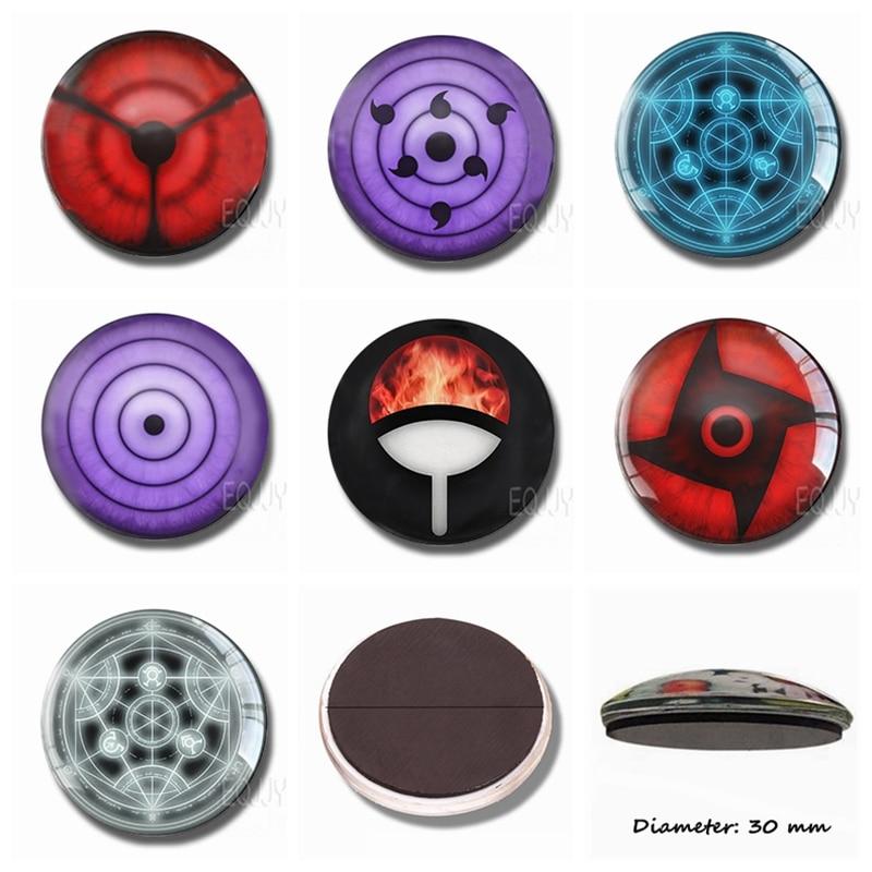 Sharingan Naruto 30 MM Glass Fridge Magnet Souvenir Blood Longan Magnetic Refrigerator Stickers Cartoon Rinnegan Home Decor spülbecken sieb