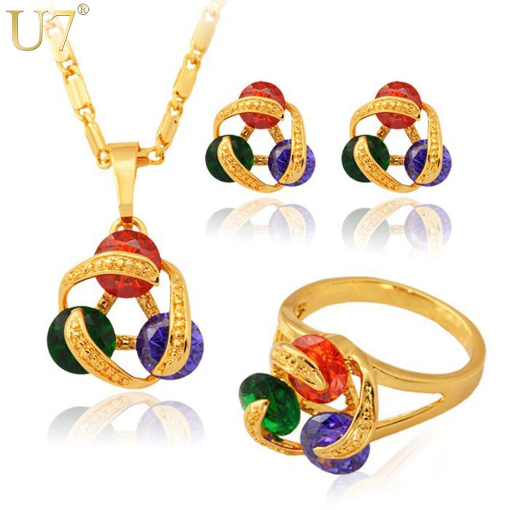 Dynamisch U7 Luxus Zirkon Schmuck-set Großhandel New Trendy Gold Farbe Halskette Ohrringe Ring Schmuck Sets Für Frauen S416 Brautschmuck Sets Schmuck & Zubehör